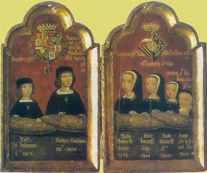 Díptico-siglo-XVI-que-representa-los-hijos-de-Juana-la-Loca-y-Felipe-el-Hermoso-Carlos-I-es-el-segundo-por-la-izquierda