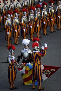 Swiss guards take part in a swearing-in ceremony on May 6, 2011 in the honour courtyard of the Swiss guard at the Vatican. 34 Swiss guards were sworn-in on the anniversary of the 1527 sacking of Rome where 147 Swiss guards died.  AFP PHOTO / FILIPPO MONTEFORTE (Photo credit should read FILIPPO MONTEFORTE/AFP/Getty Images)
