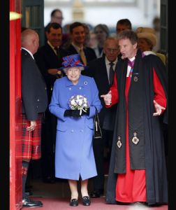 Queen Elizabeth II leaves Canongate Kirk in Edinburgh after a Sunday church service