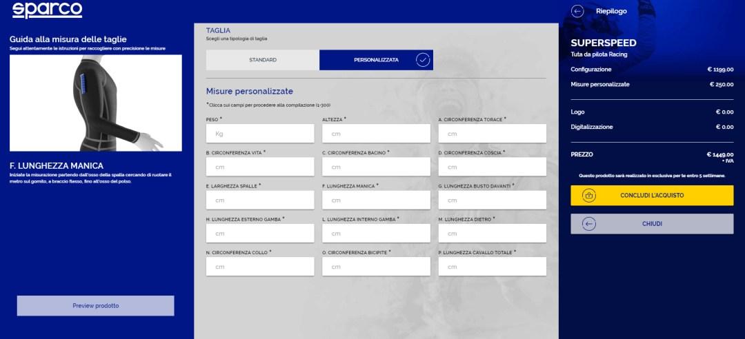 sparco configuratore 3D assistente virtuale
