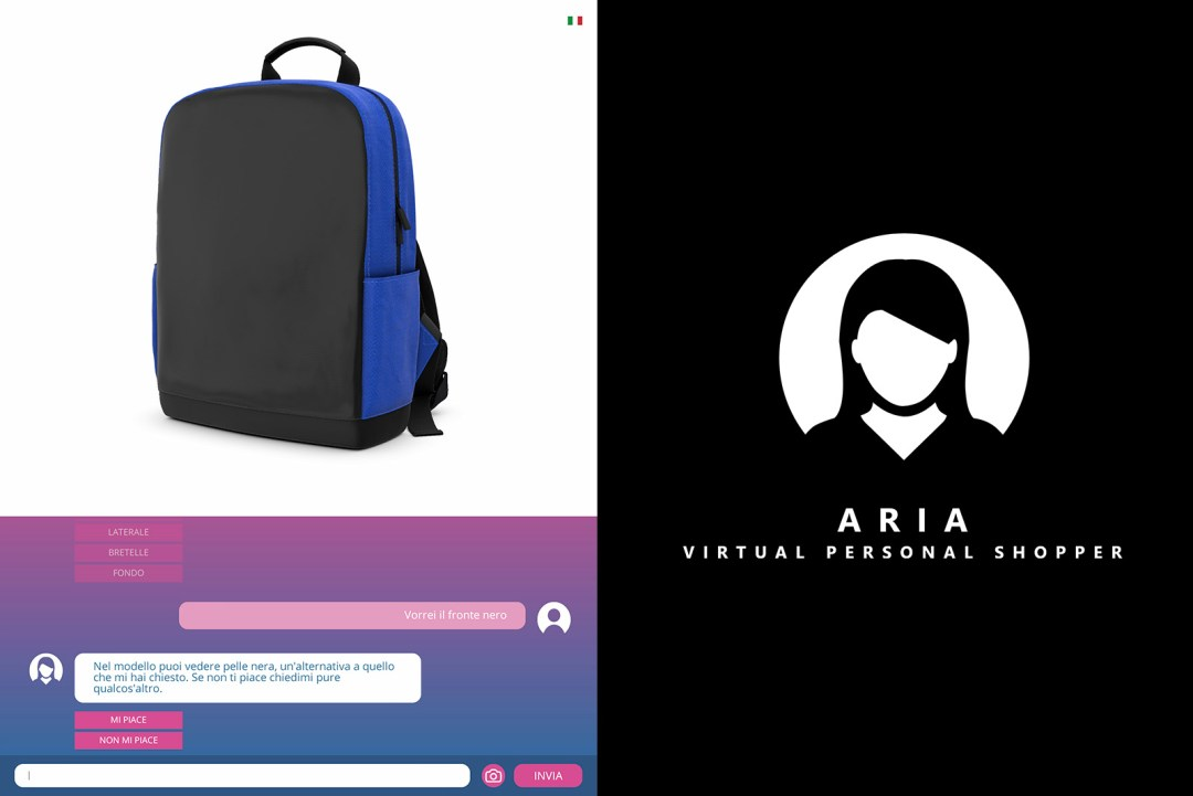 ARIA UI UX 3D chatbot customizer personal shopper