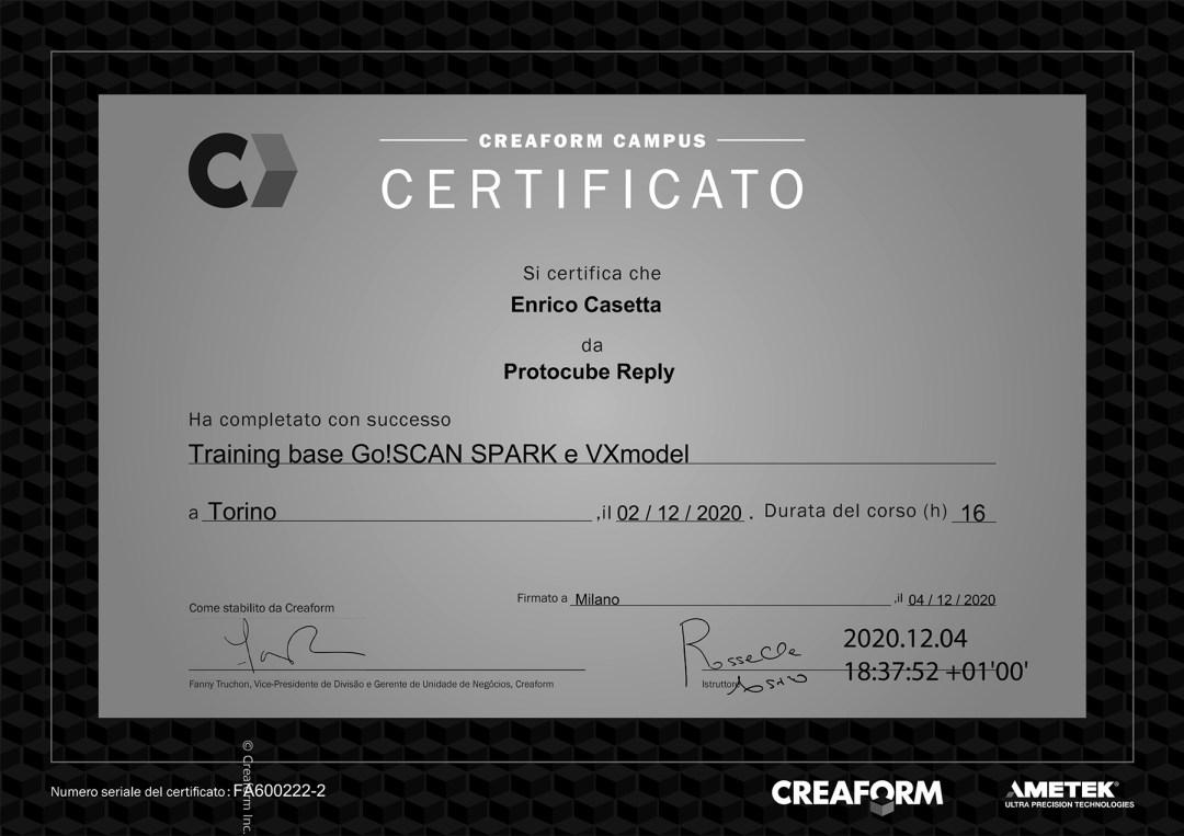 ametek scansione 3d certificato enrico