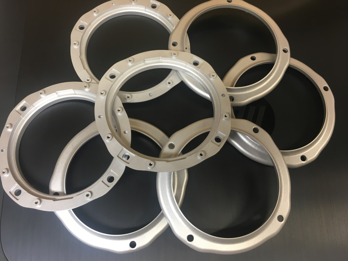 CNC machined and glass blasted aluminium parts D