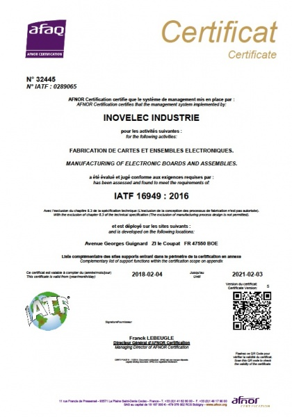 IATF16949 Automobile INOVELEC PROTOLAB