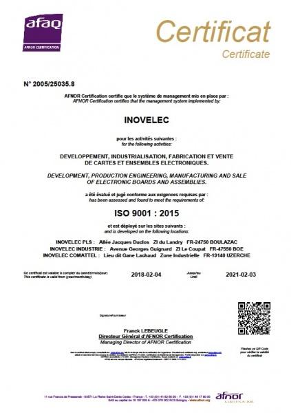 ISO9001 INOVELEC PROTOLAB