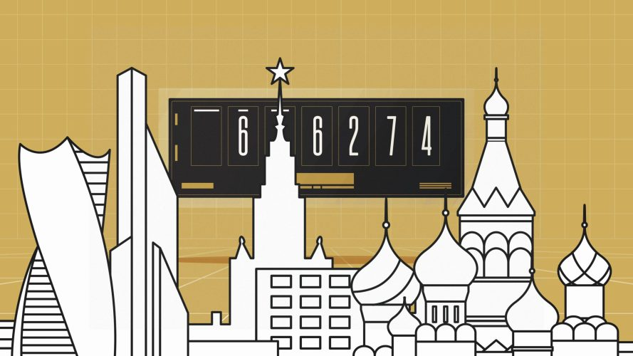 Moscow Time showing on a Bitcoin clock above a drawing of the Moscow skyline