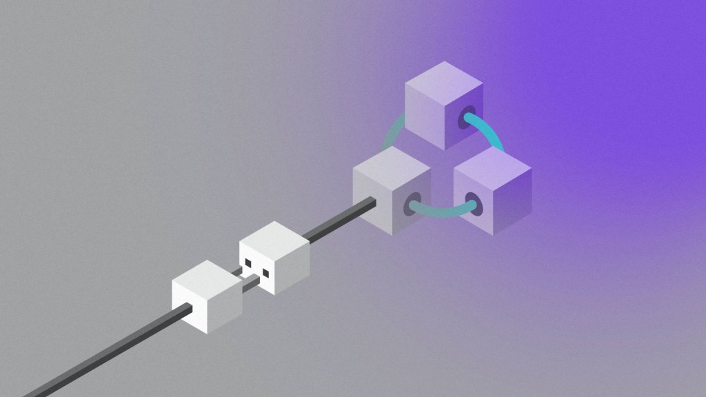 A plug being pulled from a structure of three cubes representing Microsoft Azure Blockchain