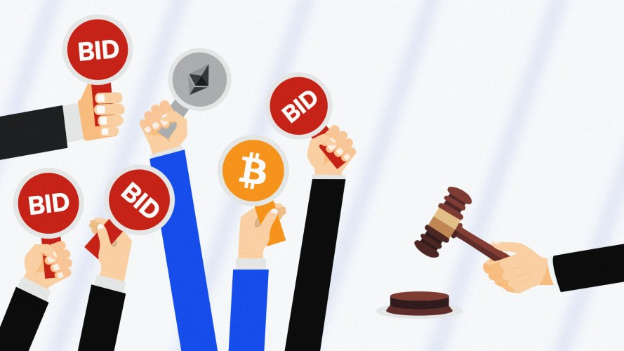Arms holding auction paddles featuring Bitcoin and Ethereum logos and Coinbase brand colours
