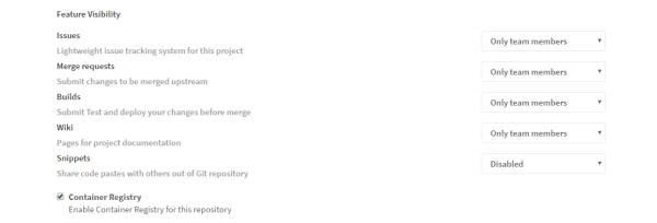 Enabling Gitlab container registry