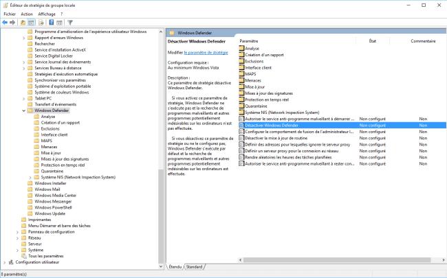 Capture d'écran - Editeur de stratégie de groupe locale sous Windows 10