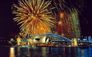 Fireworks over the Sydney Opera House and Harbor Bridge
