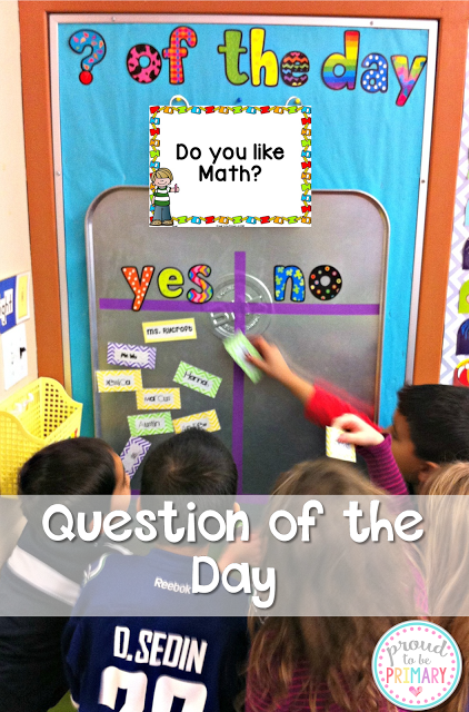 Question of the day board and questions by Proud to be Primary