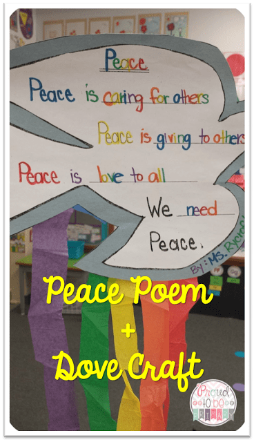 peace activities for the classroom - poem + dove craft