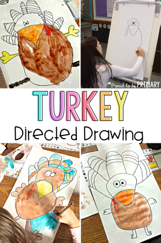 turkey drawing - directed drawing thanksgiving