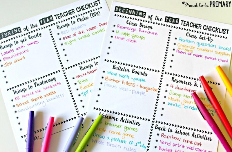 time management for teachers - beginning of the year teacher checklist