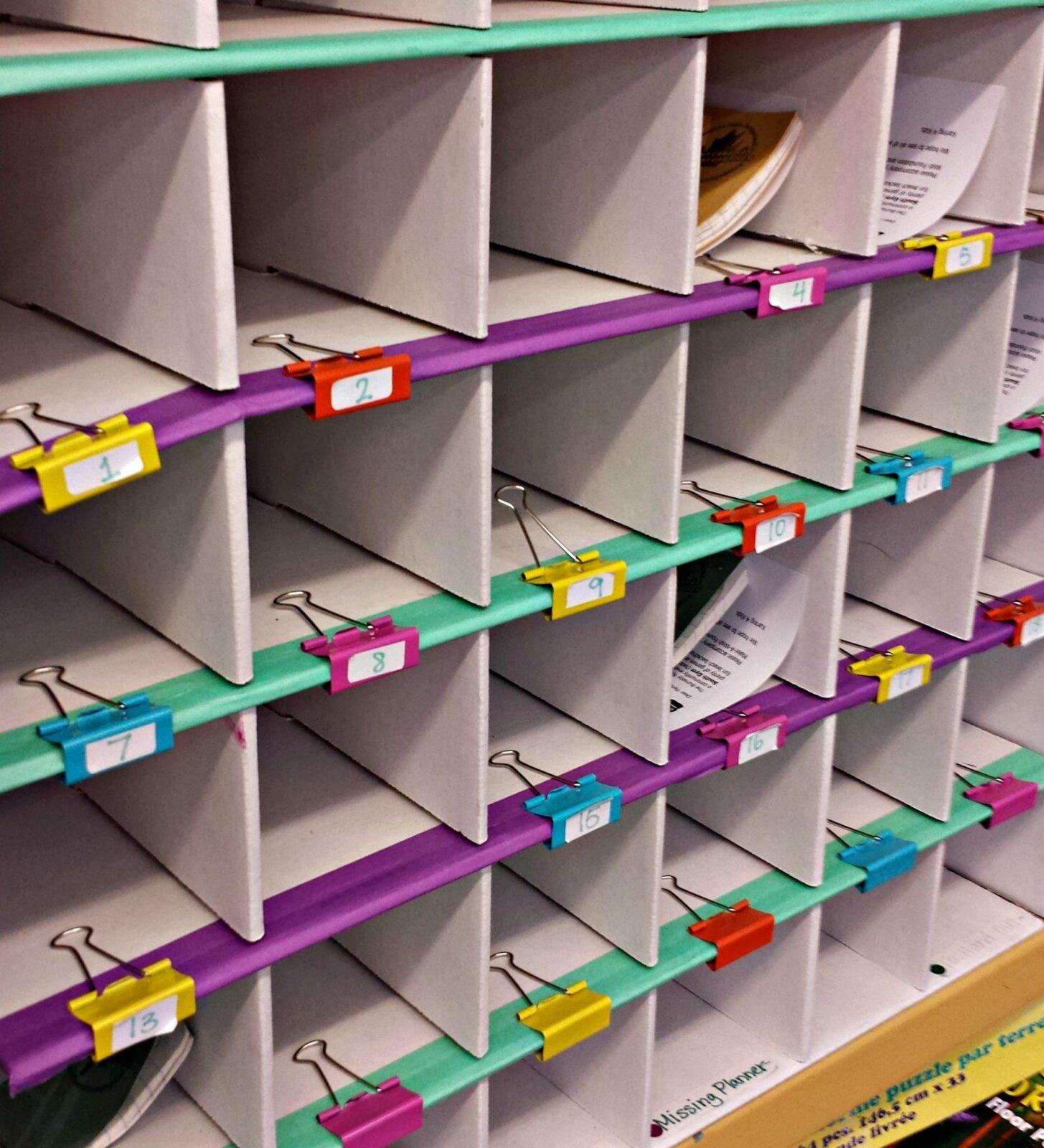time management for teachers - paper cubbies