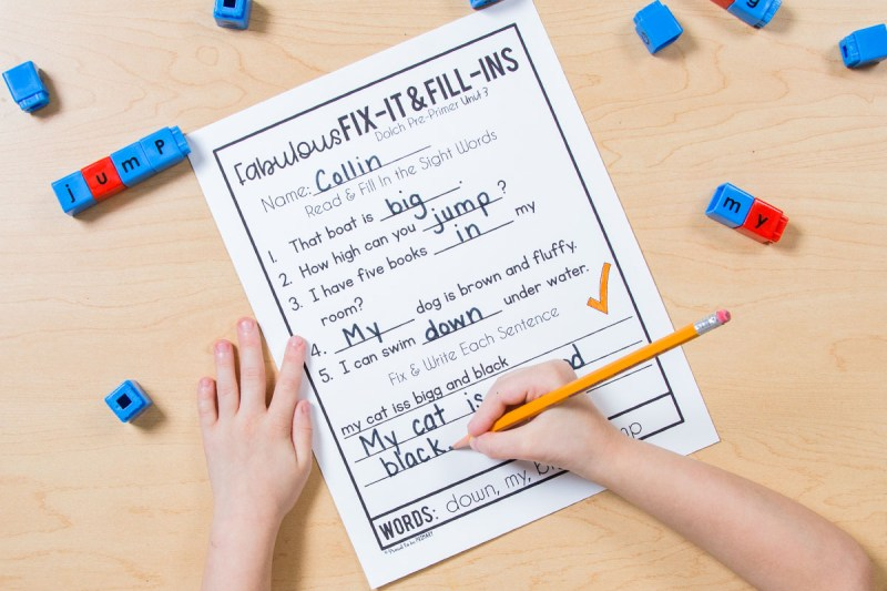 sight word fill in worksheets