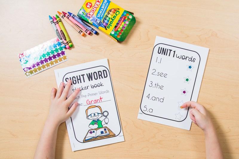 sight word sticker book assessments