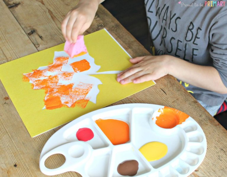 Fall Art Projects: sponge painting