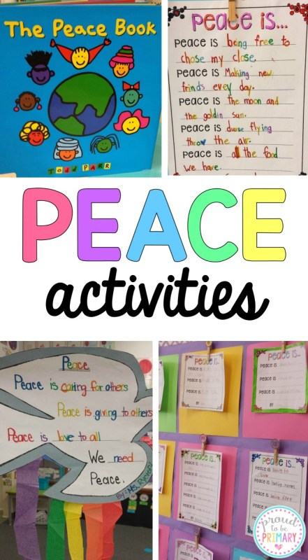 Peace activities for Remembrance Day, Veteran's Day, MLK Day, and more. Includes FREE printable writing templates.