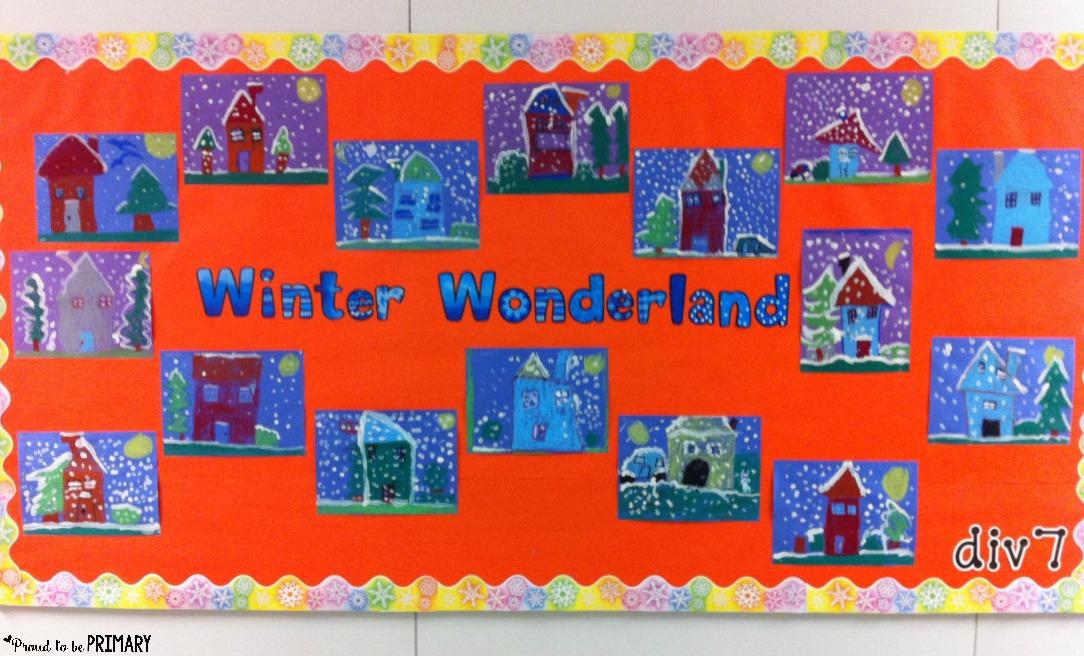 Winter art project: bulletin board display