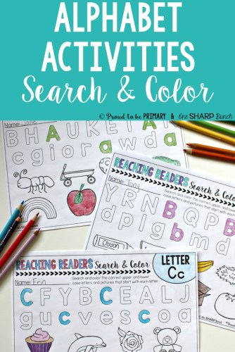 alphabet activities for small groups - alphabet search and color