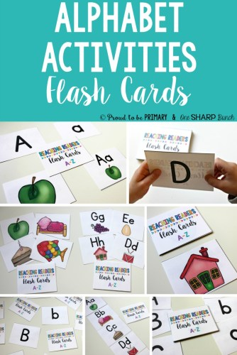 Alphabet activities for small groups by Proud to be Primary. Examples of flash card activities are provided.