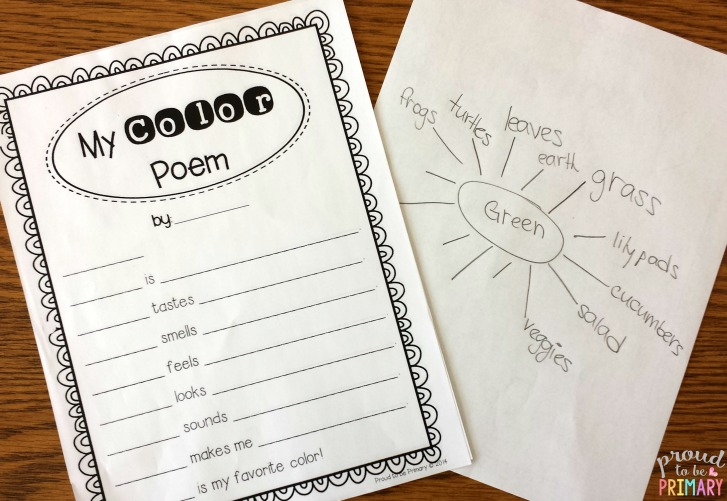 color shape poetry writing - my color poem