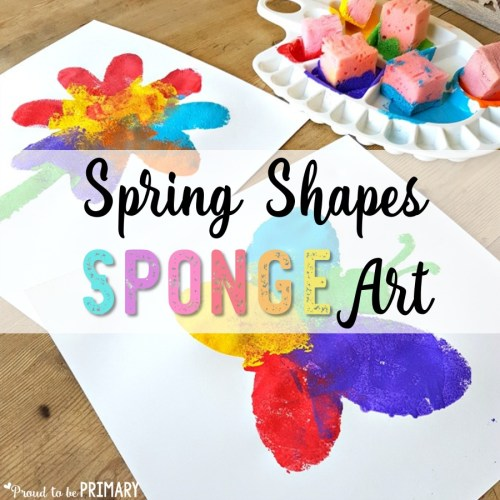 spring art idea - spring shapes sponge art