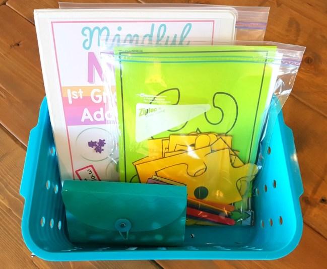 mindful math program storage bins