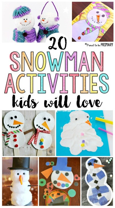 20 snowman activities for kids they will love! Includes tons of arts & crafts, DIY decor for your classroom and home, hands-on learning, and other great ideas for winter. Make your own snowman display today!