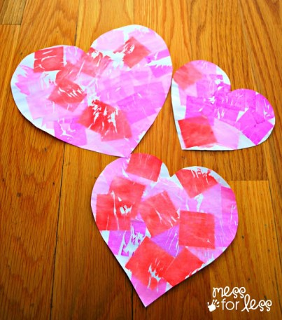 Mess for Less - Valentines Day Mobile with Tissue Paper Dyed Hearts