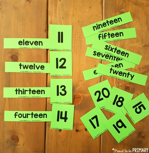 match number words and numeral cards for building number sense to 20