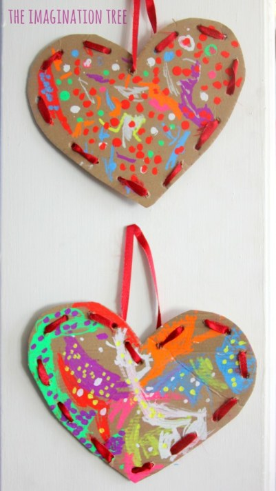 The Imagination Tree - Cardboard Lacing Hearts