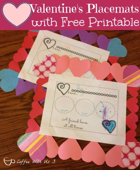 Coffee with Us 3 - Valentines Placemate Printable Craft