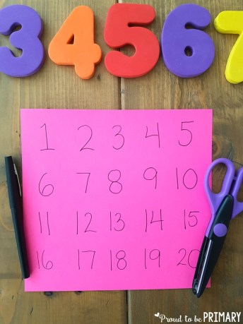 create a number puzzle to 20 for building number sense to 20