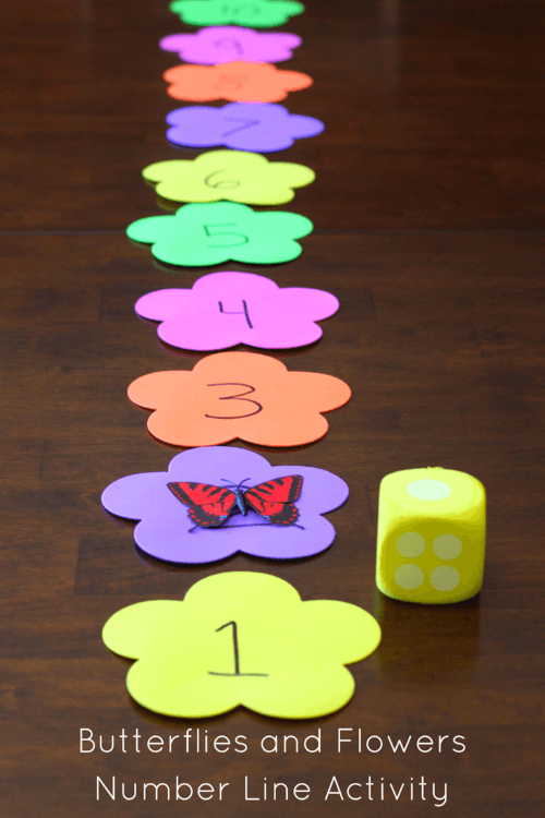 Mom Inspired Life - Butterflies and Flowers Number Line Activity
