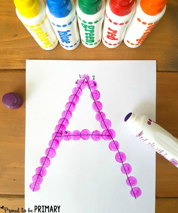 letter recognition - dot to dot letter tracing to practice letter formation