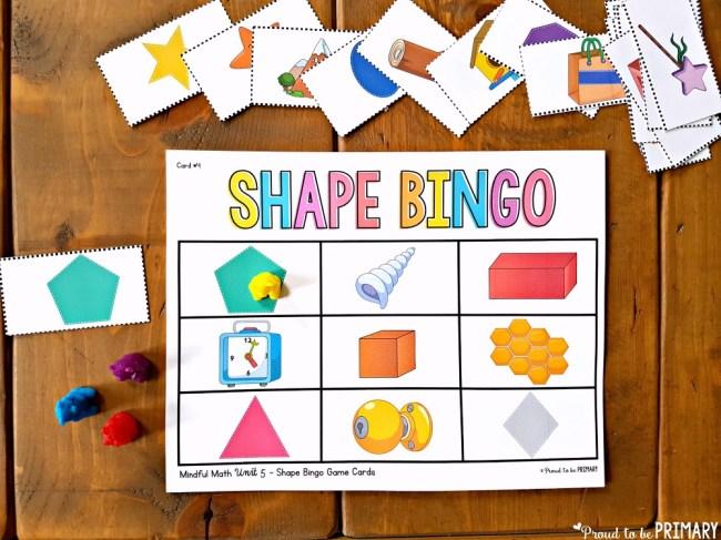 geometry and shapes for kids - shape bingo