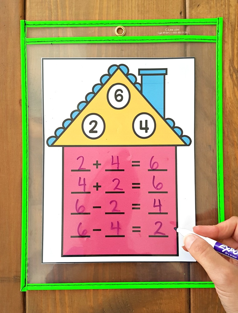 addition and subtraction activities for kids - fact family houses
