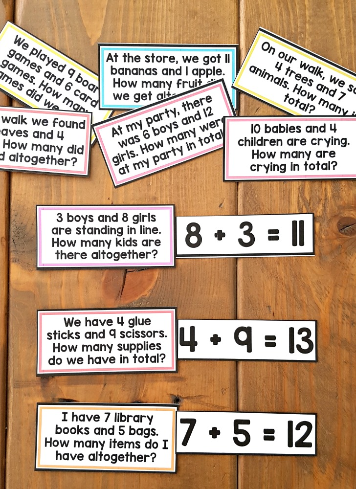 addition and subtraction activities for kids - word problems