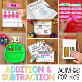 addition and subtraction activities to 20 on wooden table with math manipulatives