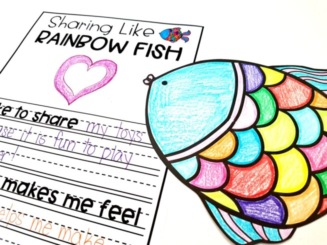 children's books about friendship - The Rainbow Fish book writing and craft lesson and activity for friendship skills