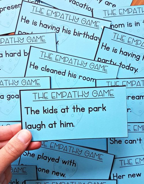 teaching empathy skills - the empathy game for role playing with scenarios on cards for kids to relate to