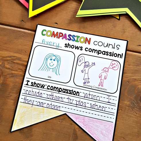 teaching empathy skills - compassion counts pennant for classroom banner