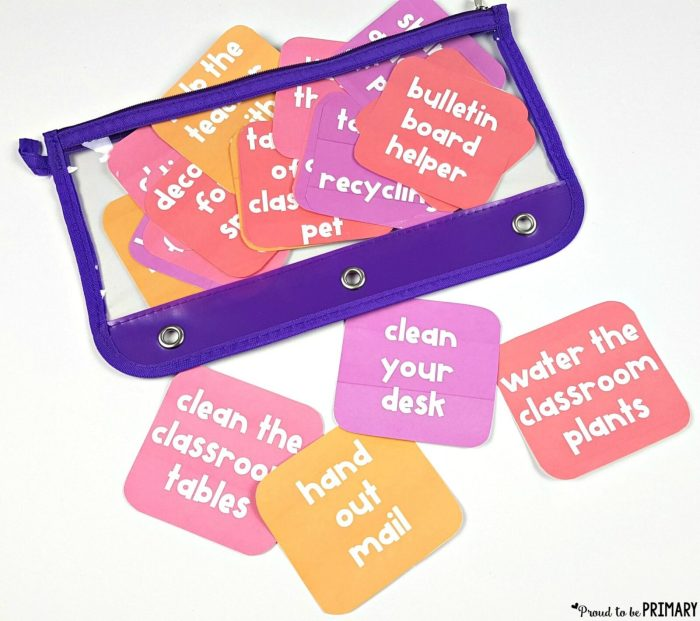 class tasks and job cards to teach kids how to be responsible