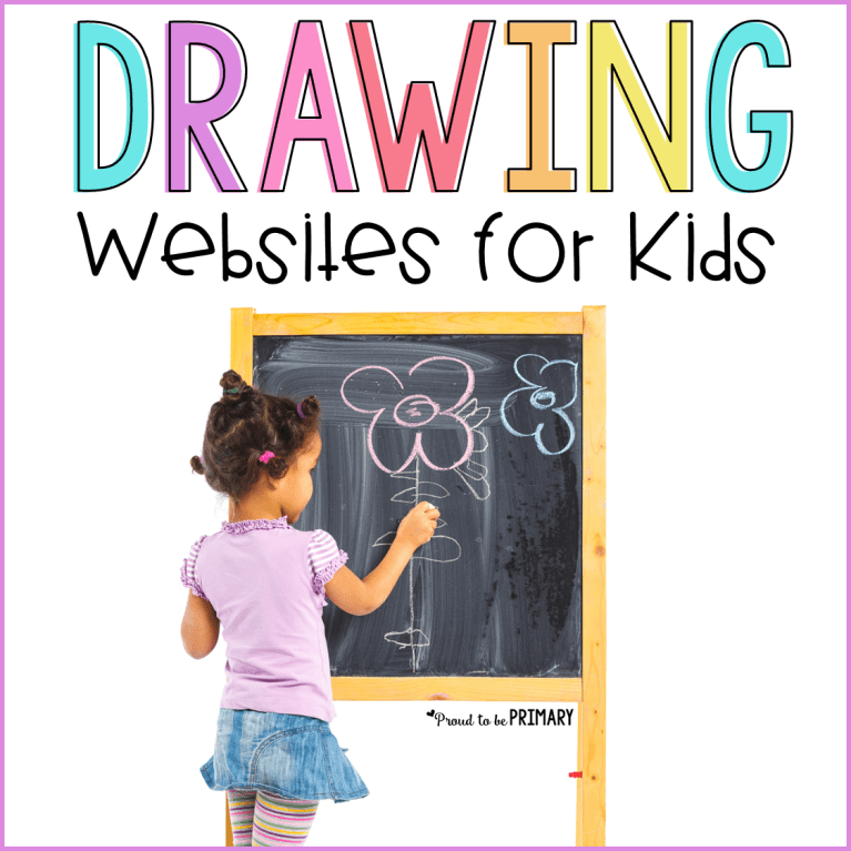 girl drawing at chalkboard - drawing websites for kids
