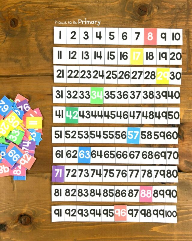 number order cards to 100