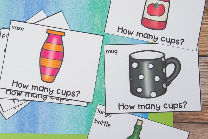 how many cups measurement activity for kindergarten