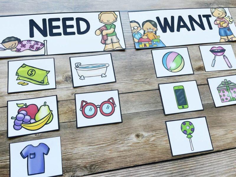 needs versus wants money activity